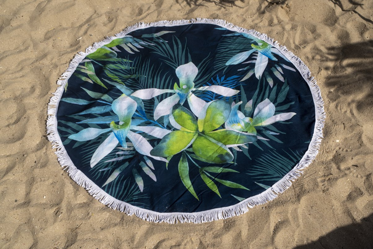 White Orchid Towel on beach